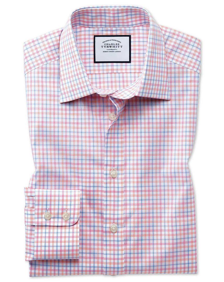 Slim fit Egyptian cotton poplin pink multi check shirt