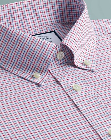 Bügelfreies Slim Fit Hemd mit Button-down Kragen Karos in Rot und Blau