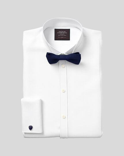 Wing Collar Marcella Bib Tuxedo Shirt  - White