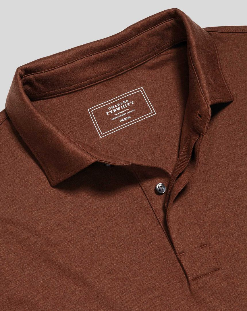 Cotton TENCEL™ Mix Long Sleeve Polo - Rust