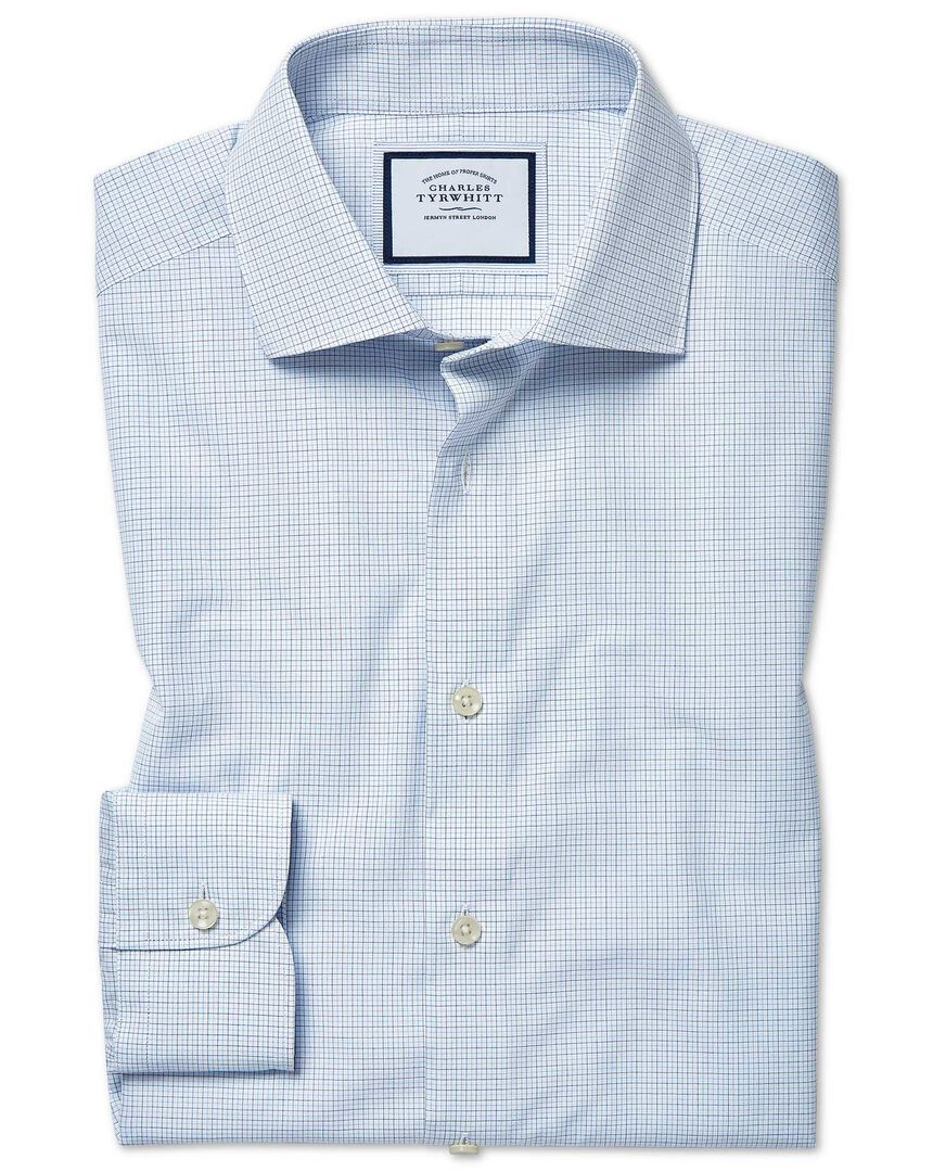 Extra slim fit peached Egyptian cotton blue check shirt