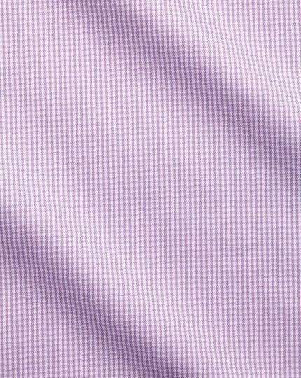 Classic fit button-down non-iron twill puppytooth lilac shirt