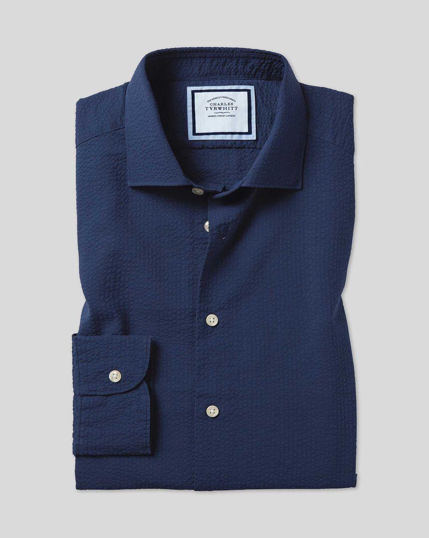 Hemd aus Baumwoll-Seersucker mit TENCEL™ und Business-Casual-Kragen - Marineblau