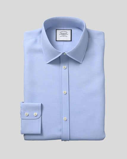 Hemd aus ägyptischer Baumwolle mit Gittermuster und Kent-Kragen - Blau