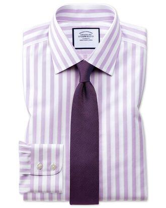 Classic fit non-iron Jermyn street stripes purple shirt
