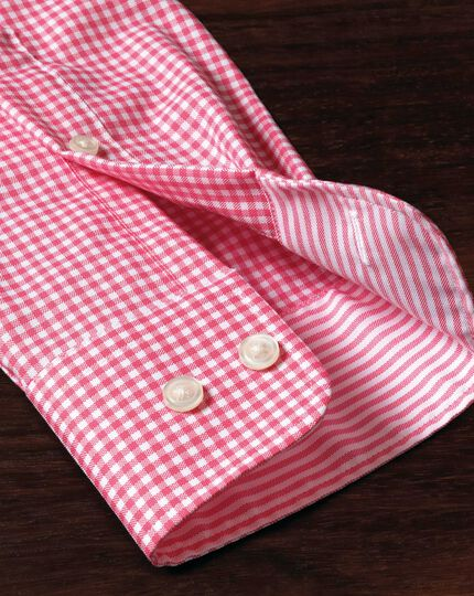Slim fit button-down non-iron Oxford gingham pink shirt