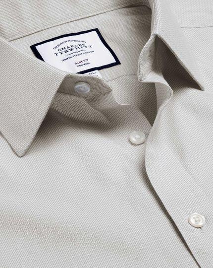 Classic Collar Non-Iron Mini Herringbone Shirt - Grey