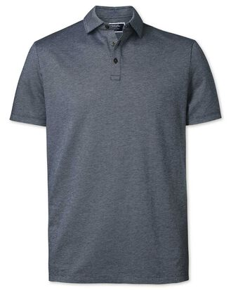 Navy spot textured polo