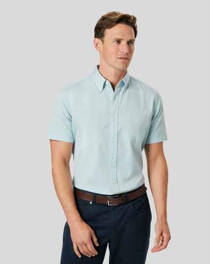 Button-Down Collar Washed Oxford Short Sleeve Shirt - Light Green