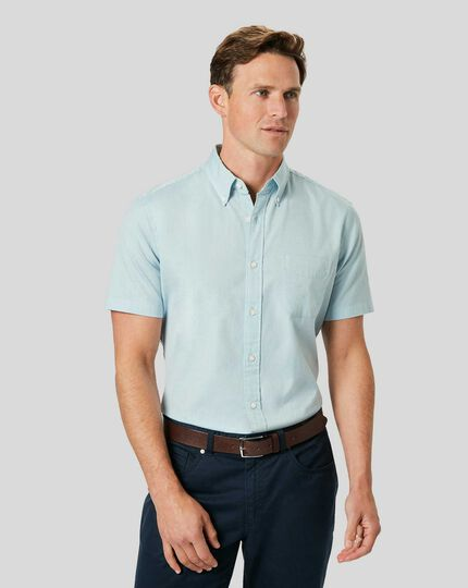Button-Down Collar Washed Oxford Short Sleeve Shirt - Light Green