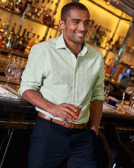 Business-Casual bügelfreies Slim Fit Hemd mit Karos in Grün
