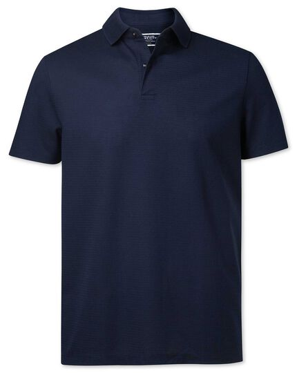 Navy Tyrwhitt Cool jacquard polo