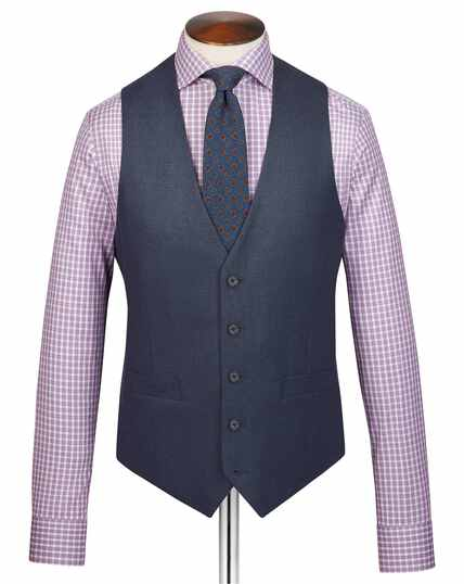 Airforce blue adjustable fit flannel business suit vest