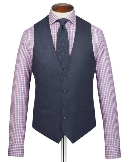 Airforce blue adjustable fit flannel business suit waistcoat