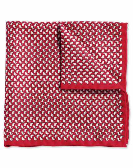 Red rabbit print pocket square