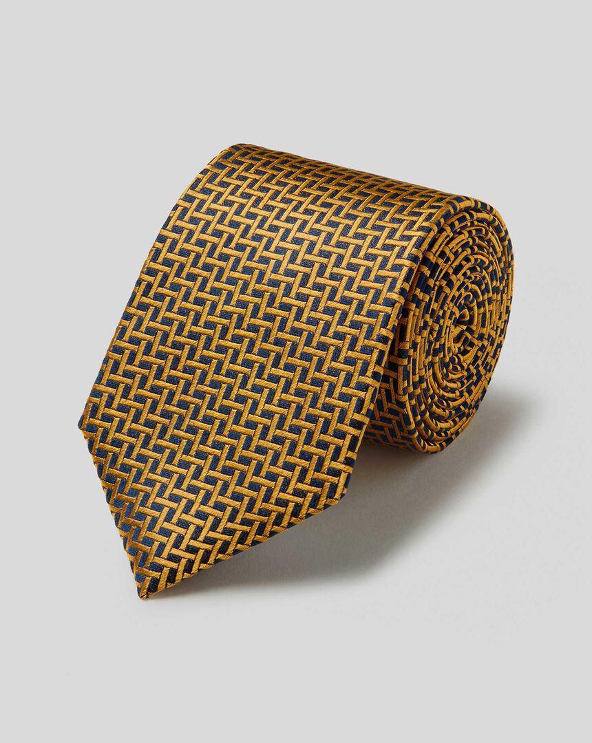 Schmutzabweisende Krawatte aus Seide mit großem Gittermuster - Marineblau & Gold