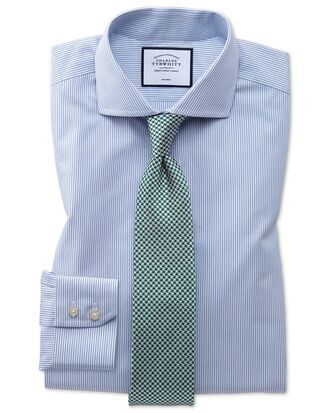 Extra slim fit spread collar non-iron natural cool blue stripe shirt