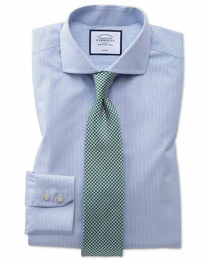 Extra slim fit non-iron natural cool blue stripe shirt