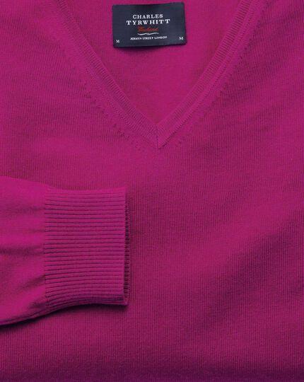 Fuchsia merino wool v-neck jumper