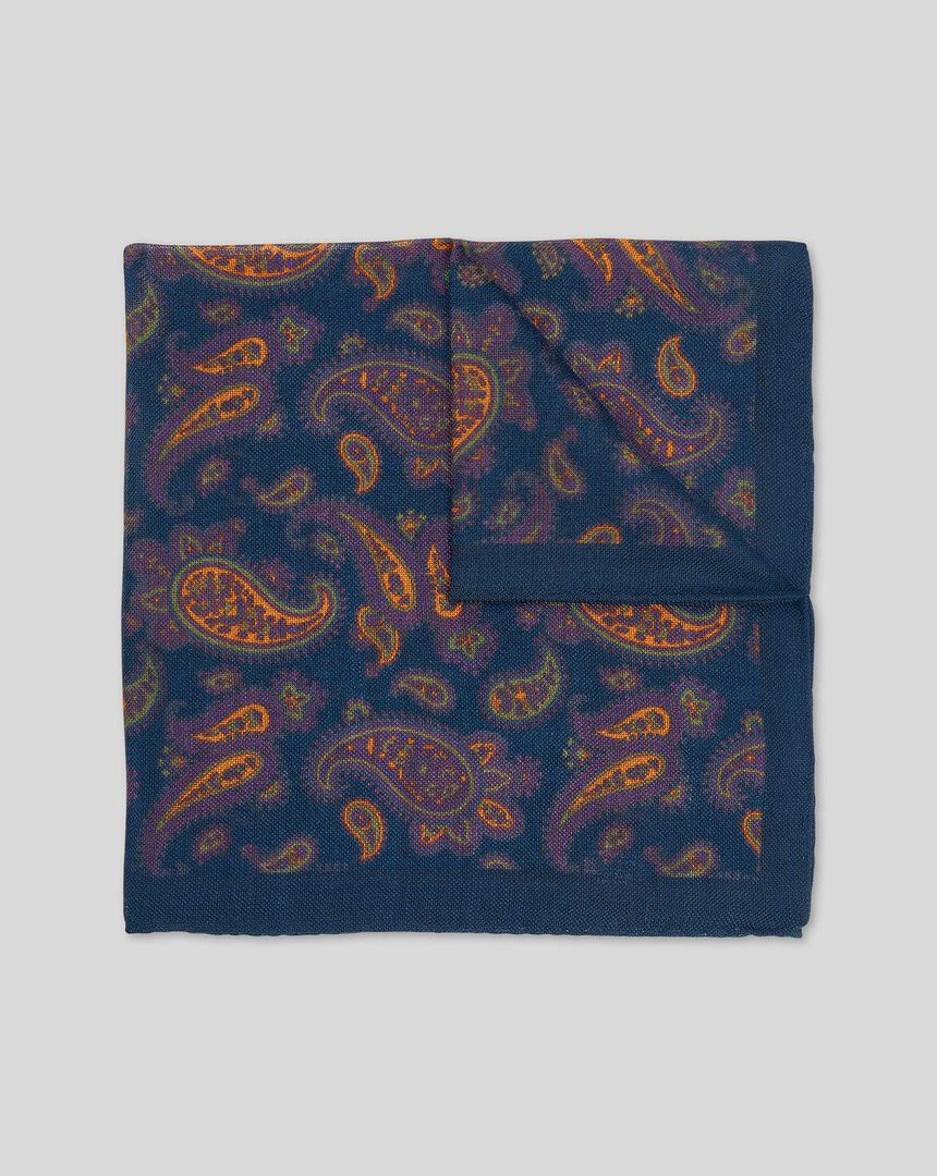 Paisley Luxury Pocket Square - Navy & Orange