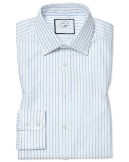 Classic fit brushed-back basketweave striped blue shirt