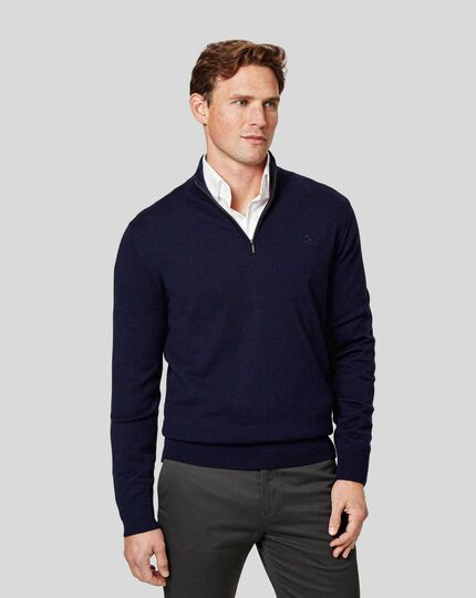 England Rugby Merino Zip Neck Sweater - Navy