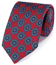 Red and blue silk medallion print English luxury tie