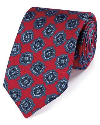 Cravate de luxe rouge et bleue en soie anglaise à imprimé médaillon