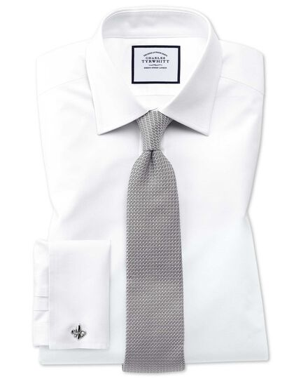 Extra slim fit Egyptian cotton trellis weave white shirt