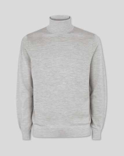 Merino Roll Neck Jumper - Silver