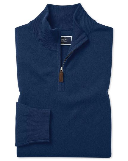 Blue cashmere zip neck jumper
