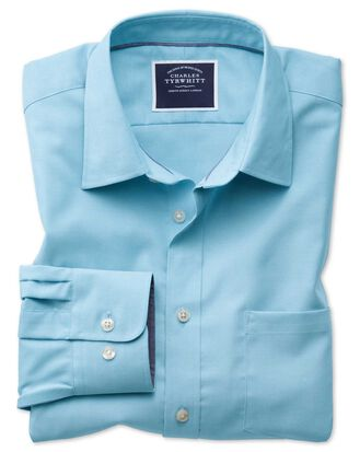 Slim fit non-iron Oxford turquoise plain shirt