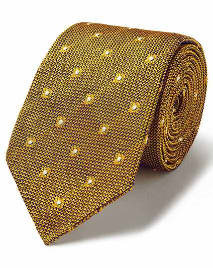 Yellow jacquard grenadine spot Italian luxury tie