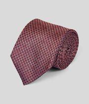 Silk Melange Puppytooth Classic Tie - Coral
