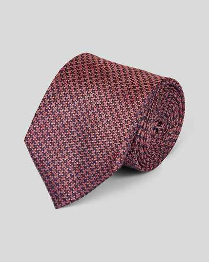 Cravate classique pied-de-poule en tissu de soie mélangé - Corail