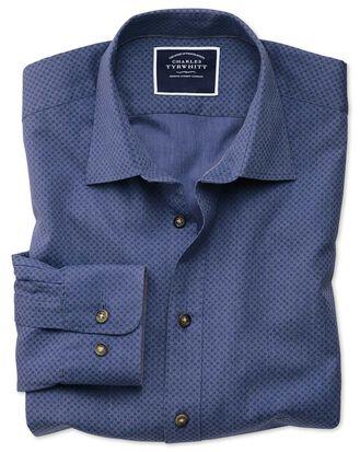 Classic fit blue spot print shirt