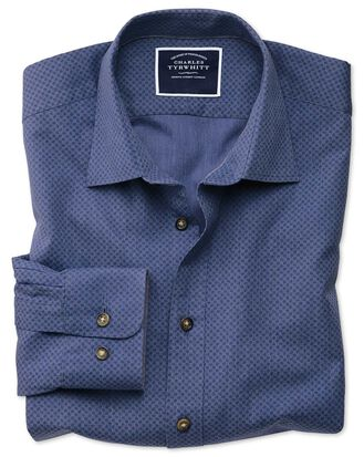 Slim fit blue spot print shirt