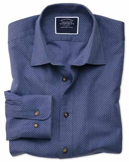 Slim fit blue spot print shirt
