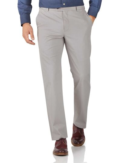 Grey classic fit stretch chinos