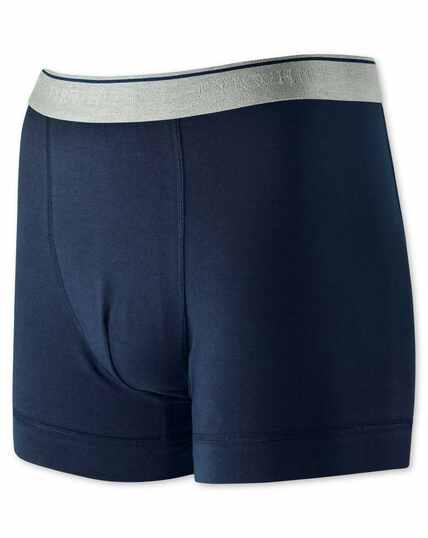 Navy cotton stretch jersey trunks