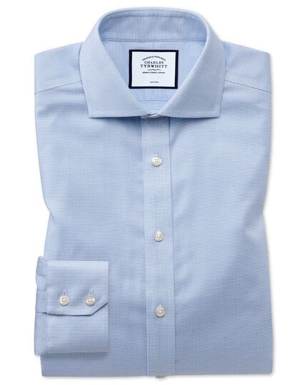 Extra slim fit non-iron cotton stretch Oxford sky blue shirt