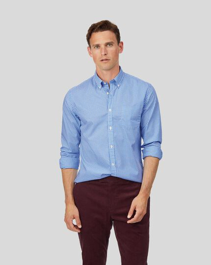 Button-Down Collar Soft Washed Non-Iron Twill Check Shirt - Sky