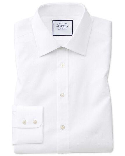 Slim Fit Hemd aus ägyptischer Baumwolle mit Panamabindung in Weiß