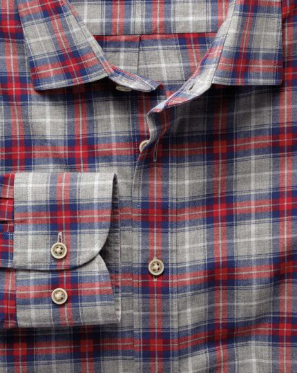 Extra slim fit red and grey check heather shirt