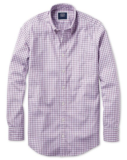 Classic fit berry gingham soft washed non-iron Tyrwhitt Cool shirt