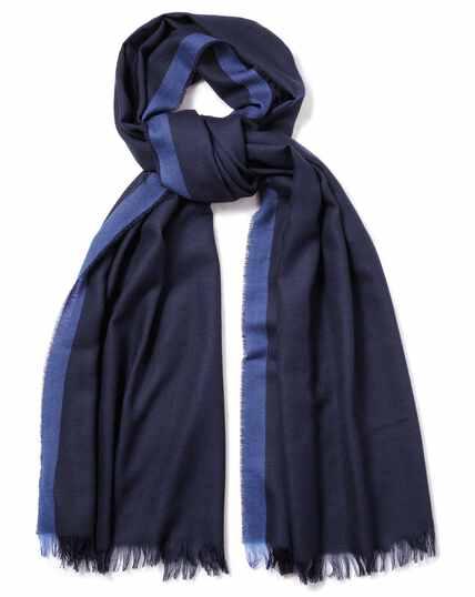 Navy twill lightweight merino scarf