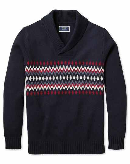 Navy and red shawl collar Fair Isle sweater