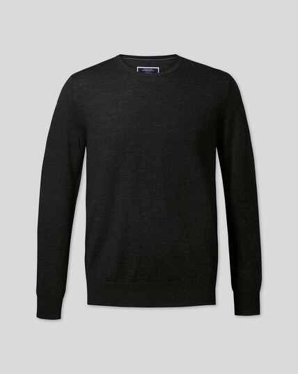 Merino Crew Neck Sweater - Dark Charcoal
