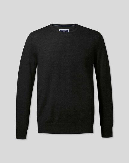 Pull en laine mérinos à col rond - Anthracite foncé