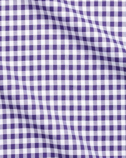 Slim fit non-iron gingham purple shirt